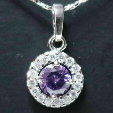 Sparkling Round Purple Amethyst Necklace Women Wedding Jewelry 14K White Gold