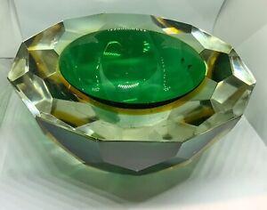 Murano Mandruzzato Sommerso Diamond Faceted Caviar Geode Glass Bowl 70s MCM