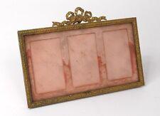 Cadre porte-photo Louis XVI laiton doré 3 vues noeud french frame XIXème