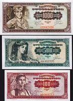 YUGOSLAVIA 3 PCS SET 100 500 1000 DINARA 1963 UNC P 73 74 75