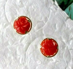 14kt Gold Post Earrings w/ Vintage Natural Color Rich Carved Red Coral Roses