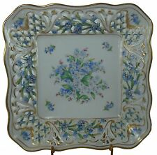 SCHUMANN china CHALET FORGET-ME-NOT Pierced Square Vegetable Serving Bowl 7-1/4""