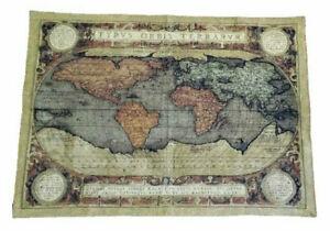 Wandteppich Gobelin Italy Vintage Old Map WELTKARTE Retro DESIGN GRÜN 140x110 cm