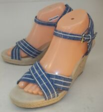Nautica Womens Shoes Wedge Sandals LONGSHORE US 9 Blue White Striped Ankle Strap