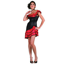 BLACK AND RED SPANISH DRESS WITH RUFFLES ESPANA SPAIN FANCY DRESS