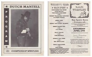 Championship Wrestling Program 1985 Match Card Dutch Mantell Memphis Nashville