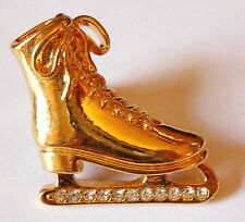 Avon Ice Skating Tac PIN VINTAGE Rhinestone Accent Gold Plated Skate
