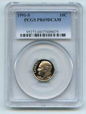 1991 S 10C Roosevelt Dime Proof PCGS PR69DCAM