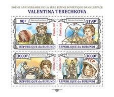 Valentina Tereshkova Primera Mujer cosmonauta hoja de sellos de espacio #1 (2013 Burundi)
