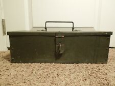 Vintage Handmade Metal Military Green Hinged Strongbox Strong Box