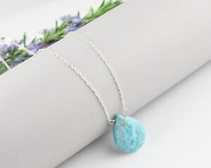 Natural Larimar Pendant Necklace 925 Sterling Silver Healing Gemstone Jewelry AM