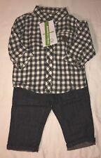 Vertbaudet Boys Gray & White Pants & Shirt Size 3 Months W/Suspenders NWT LBB76