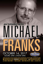 "Michael Franks ""An Evening With"" 2017 New York City Concert Tour Poster-Jazz,Pop"