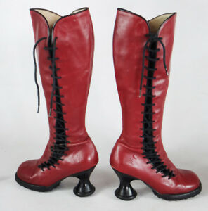 John Fluevog red 6.5 knee high boot lace up vintage mini punk steampunk corset