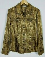 Chico's Women's 3 XL Copper Brown Metallic Long Sleeve Button Up Unlined Jacket