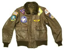 G-1 Vintage Leather Jacket w/ Military Patches Bomber Usn Navy Fighter Pilot G1