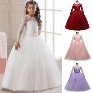 Flower Girl Formal Dresses for Kid Party Wedding Bridesmaid Long Lace Tulle Gown
