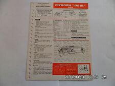 FICHE TECHNIQUE DE RTA CITROEN DS 21 BREAK N°244 ET 287 BIS          G12