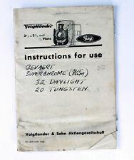 Voigtlaender Original Instruction Manual for Vag Plate Camera 2-1/2 x 3-1/2