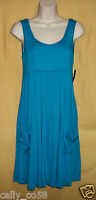 Ellen Tracy womens turquoise blue ruched top empire smock sundress sun dress $89