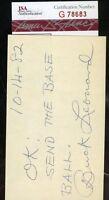 Buck Leonard Negro Lea Signed Jsa Certified 3x5 Index Card Authentic Autograph