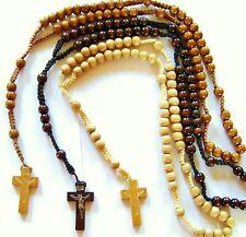 1x  Rosenkranz Kreuz Kette aus Holz in 3 Farben ECHTE HANDARBEIT Madonna GEBETS