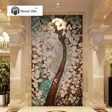 Jade Color Glass Mosaic Murals Tile Pachira Lucky Tree for Bar Hotel Lobby Decor