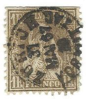 1863 SWITZERLAND 1 FRANC STAMP #50 WITH 1867 ZURICH SON CANCEL