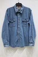Levi's Strauss Signature denim cotton button up plaid cuff shirt men's size XL