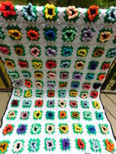 100% handmade HAND CROCHET knit multi color FLOWERS AFGHAN throw blanket FLORAL