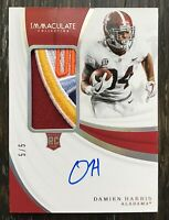 2019 Panini Immaculate Damien Harris Rookie Bowl Patch Auto 5/5 Patriots RPA RC