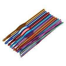 14 Sizes Multi coloured Aluminum Crochet Hooks Needles Set 2mm-10mm AD