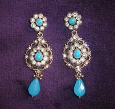 Indian turquoise blue stone, diamond, crystal gold dangle earrings