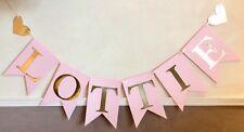 Ragazze PERSONALIZZATI Festa di Compleanno Striscione Rosa E Oro Bunting (6 LETTERE)