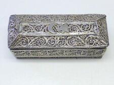 20thc Vintage Filigree Crescent Moon Star Silver Trinket Box Turkish German