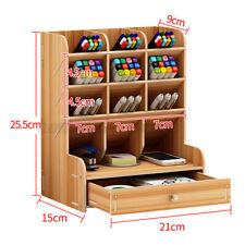 Wood Desk Organizer Desktop Storage Brush Office Pencil Holder Pen Box Cas