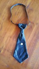 costume Black Pinstripe gangster tie with crystal 27cm BNWOT free post E19