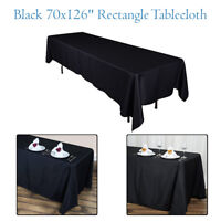 "Rectangle Polyester 70"" x 126"" Black Table cloth Wedding Tablecloth Dining Cover"