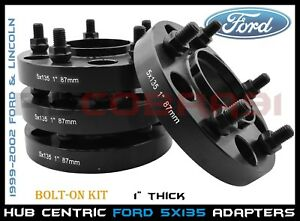 """4 Pc 5x135 Black Wheel Spacer Adapter Hub Centric Ford 1"""" Thick 14x2.0 For F-150"""