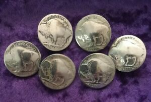 Six Great Looking Authentic Buffalo Nickel Buttons