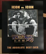 WWE WWF WrestleMania X8 (18) Poster 16x20 Rock Icon vs Icon
