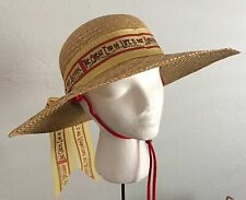 "Mary Engelbreit Hat Straw Rare ""The Great End of Life.Ribbon 1990 Garden Beach"