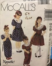 McCall's Nannette Pattern 5116 Girl's Dress Jumpsuit & Headband Sz 6, 7, 8 uncut