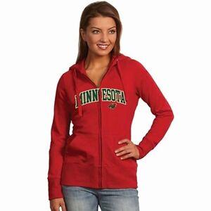 NEW Antigua Women's Minnesota Wild Hooded Applique Full-Zip Sweatshirt - L Red