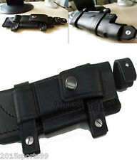 """NEW Straight Leather bag Black Belt Sheath For Less 7"""" Fixed Knife W/Pouch 63"""