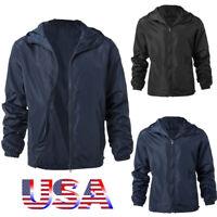US Mens Windbreaker Jacket Zipper up Hooded Sport Casual Outwear Waterproof Coat