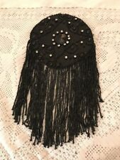 Victorian antique black jet beaded trimming 1 long tassle edge panel from dress