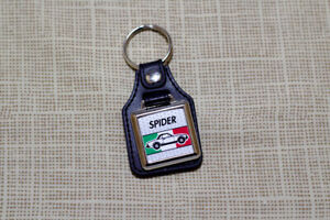 Fiat 124 Spider Keyring - Leatherette & Chrome Keytag