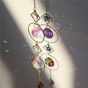 Metallic Hoop Moon Sun Wind Chimes Crystal Prisms Hanging Suncatcher Pendant AU