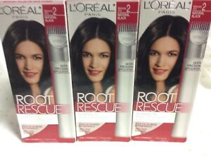 3 X L'Oreal Root Rescue 10 Minute Root Coloring Kit Natural Black #2 Hair Color